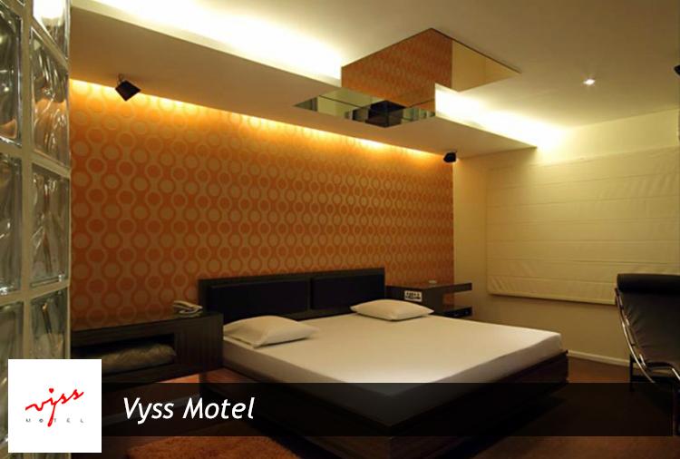 Período de 6h ou 12h + até R$ 49,00 em consumação, no Vyss Motel! Aproveite, lindas suítes com piscina aquecida!